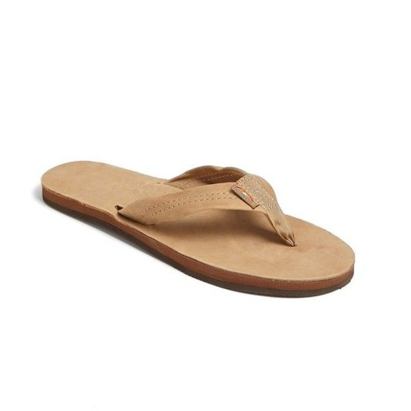 Rainbow Wide Strap Thong ($51) ❤ liked on Polyvore featuring shoes, sandals, flip flops, sierra brown, brown shoes, fleece-lined shoes, brown flip flops, rainbow sandals and rubber sole shoes