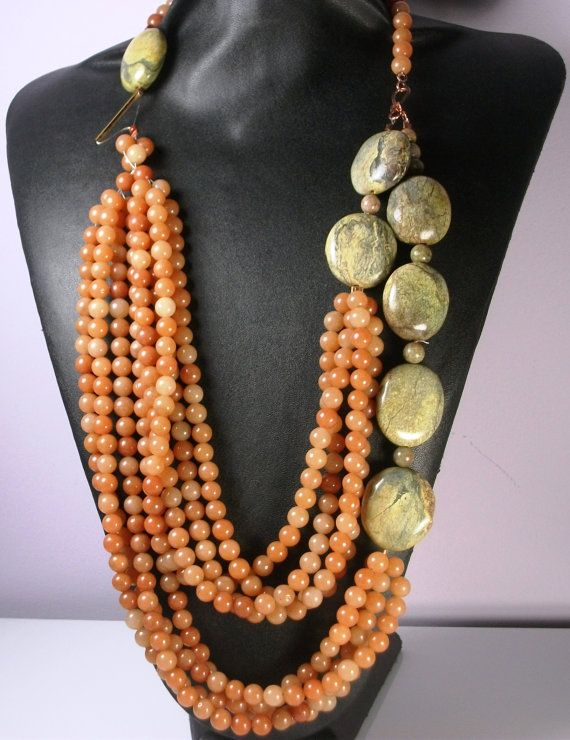 Statement Necklace Beaded Orange Green by DeAnnaClaudette on Etsy, $70.00