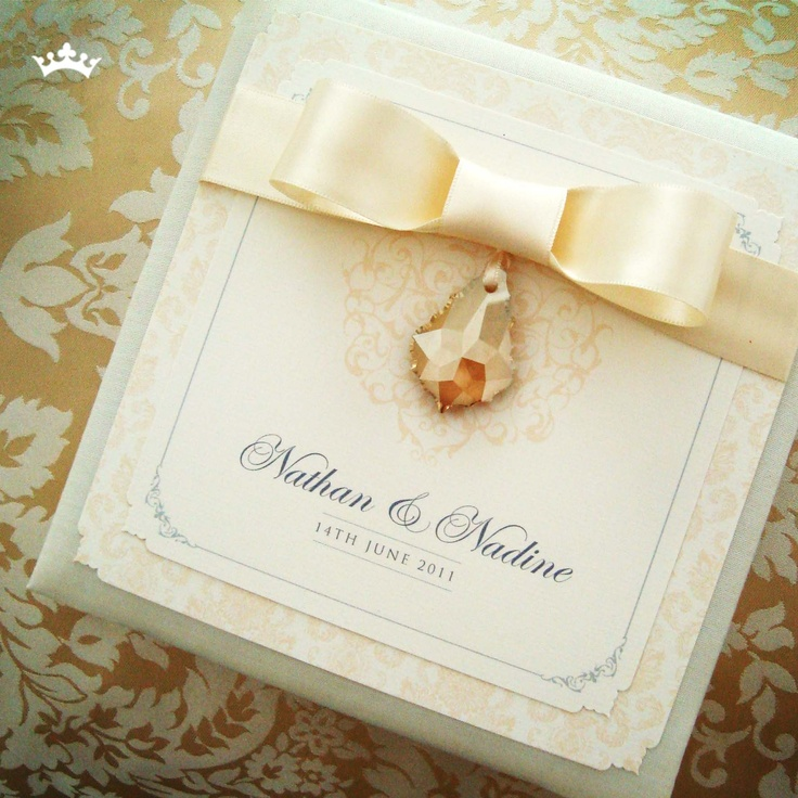 tie ribbon wedding invitation%0A Silk White Truffle  flat invitation with brooch design with   mm champagne  satin ribbon tie and