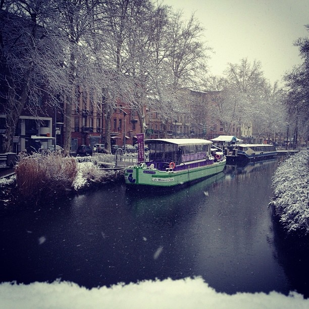 Canal du Midi sous la neige, Toulouse - France