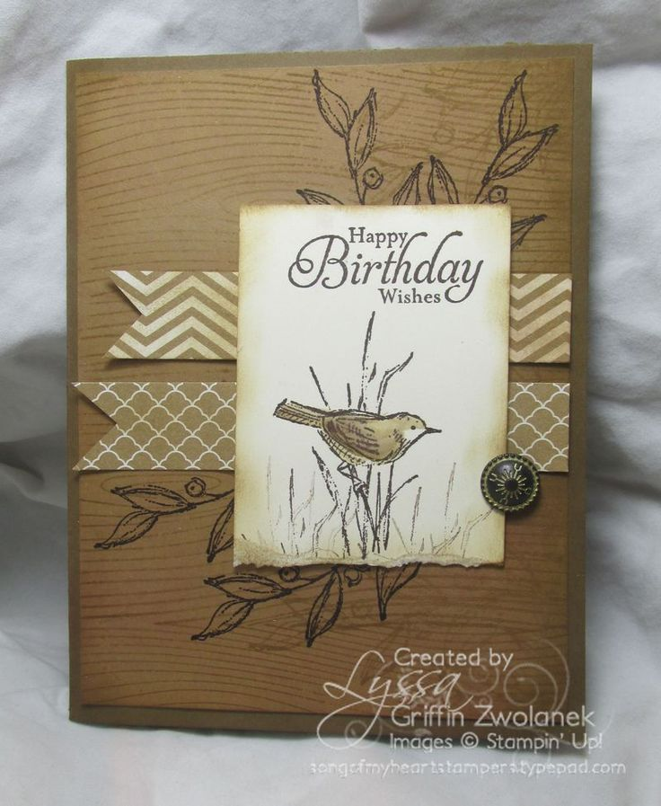 handmade birthday card ... kraft and neutrals ... like the layers ... wood grain embossing and stamped branches on the card base .. two fishtail flags that could be washi ... focal point block  ... lovely antique brad on top ... great for a masculine birthday ... Stampin' Up!