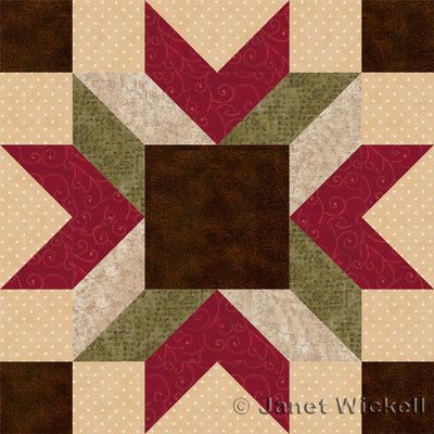 "Merry Kite Quilt Block Pattern-About.com By Janet Wickell.  Block finishes at 12 inches ""Contrast variations in all of the block's patchwork can be shifted around to create different looks, but the square center and angled bars radiating outwards from it are prime spots for experimentation."" Visitsite: http://quilting.about.com/od/12-Inch-Quilt-Blocks/ss/Quilt-Block-Patterns-Sew-12-Merry-Kite-Blocks.htm?nl=1"