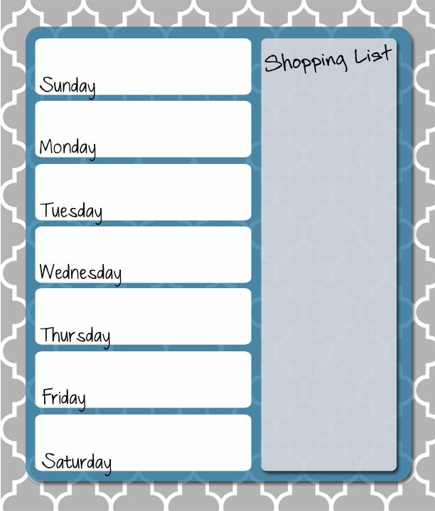 Get your FREE printable menu planner  blues and grays perfect for meal planning