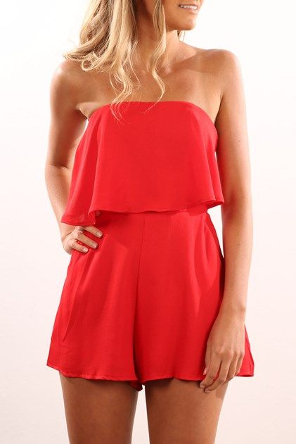 64575ff9057 Slow Dance Playsuit Red