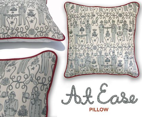 designer julia rothman just released a limited edition series of 30 pillows featuring the pattern she designed for design by the book, called 'at ease'. julia's at ease pillows are 18″ square and are hand silkscreened in two colors with red piping.