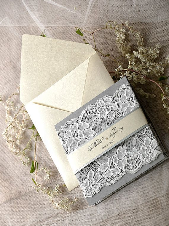 Ivory Grey Wedding Invitation(20), Lace Ecru Wedding Invitations, Vintage Grey Wedding invitation, 4lovepolkadots, Model no: 17/lace/z