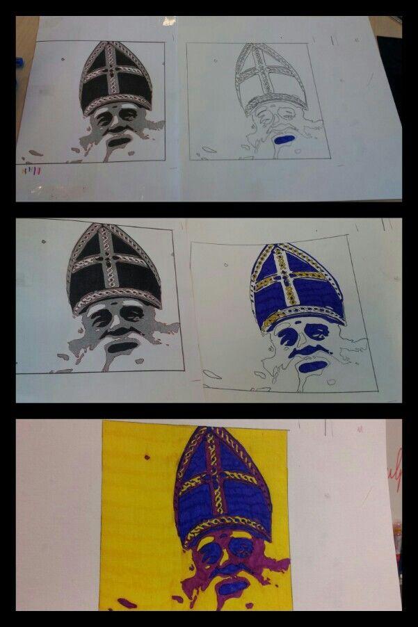 Popart! Stap 1: foto in 3 grijstinten uitprinten. Stap 2: alle lijnen op carbon papier overtrekken. Stap 3: inkleuren! Donkere kleur voor zwart, iets lichtere voor grijs en een compleet andere kleur voor wit. Et voila!