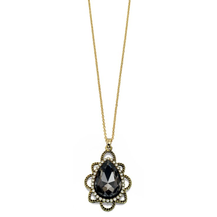 Designer Pear Shaped Pendant Necklace with Crystals by Fiorelli - Make a statement with this designer necklace by the renowned and high fashion Fiorelli brand, is beautifully produced with white or yellow alloy and acrylic and preciosa cubic zirconia crystal: http://ow.ly/XA1s8