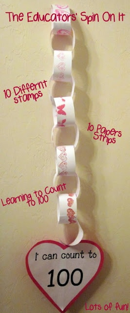 Stamping to 100: Good Ideas, Schools Activities, Counted To 100, Schools Ideas, 100Th Day, Teaching Ideas, Valentines Day, Paper Chains, 100 S