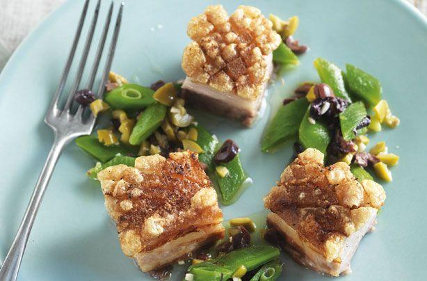 Belly pork with green bean tapenade recipe - goodtoknow