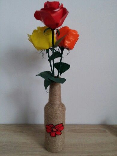 Paper roses and bottle handmade