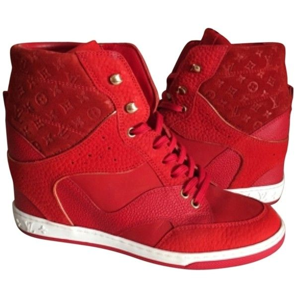 Pre-owned Louis Vuitton Cliff Top Red Wedge Sneakers 38 Athletic Shoes ($775) ❤ liked on Polyvore featuring shoes, sneakers, none, wedged sneakers, pre owned shoes, red sneakers, wedge sneaker shoes and red wedge sneakers