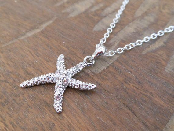 Starfish necklace with clear crystals - Rhinestone Starfish Necklace - Beach Wedding - Starfish Jewelry on Etsy, $20.00