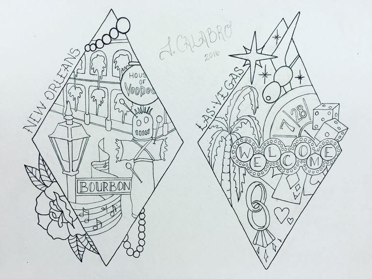 Nola tattoo. Mardi Gras tattoo. Las Vegas tattoo. Travel tattoo