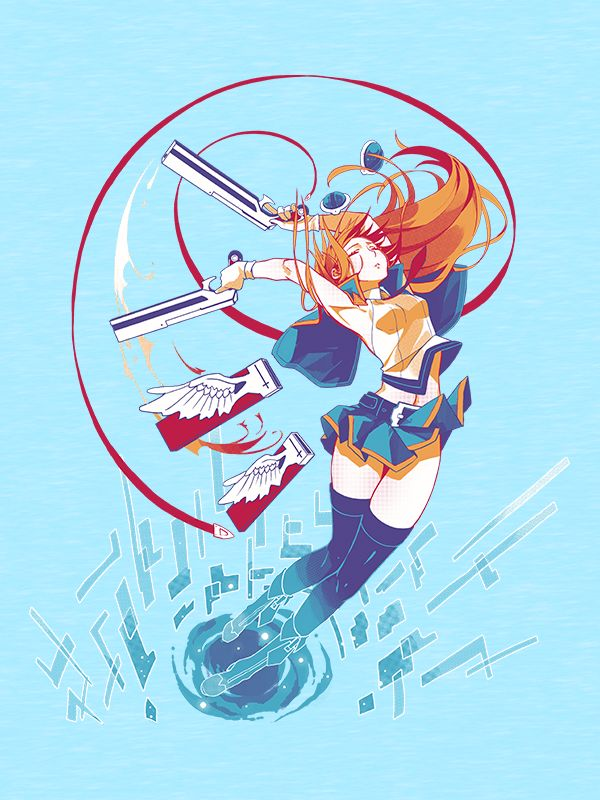 Noel Vermillion, the Successor of the Azure, and former NOL lieutenant! Sporting her new outfit from Chronophantasma, this serene Blazblue design captures her activating some of her latent abilities. This gunslinging shirt will make a great addition to anyone's collection!