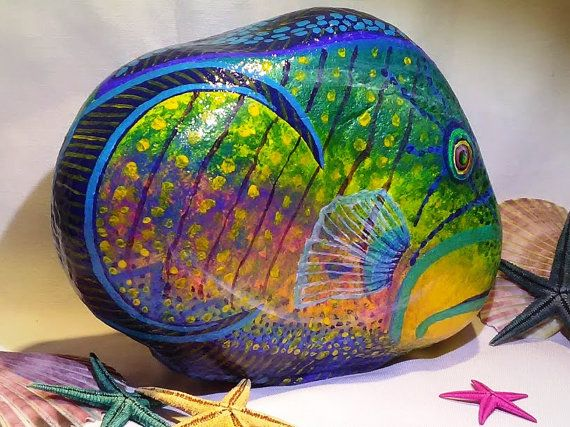 STONEIMALS: This beautiful bright Tropical Queen Trigger fish is ready to purchase for a home!  Great for a centerpiece, doorstop, bookend, bathroom decor, bedroom, pool patio decor...  Size : 9l x 8h x 2 1/2 wide.  Painted in rich blue and aqua acrylics and glitter paint colors so when hit by light, parts of fish will sparkle. Coated with a UV protective varnish for a lifetime of enjoyment. Size: Shipping in US is USPS Flat Rate with tracking and insurance. International is USPS Flat Ra...