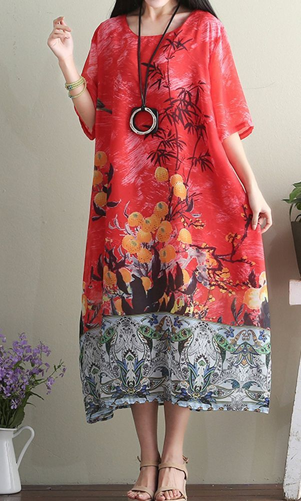 Women loose fitting over plus size retro flower dress long pocket tunic pregnant #Unbranded #dress #Casual