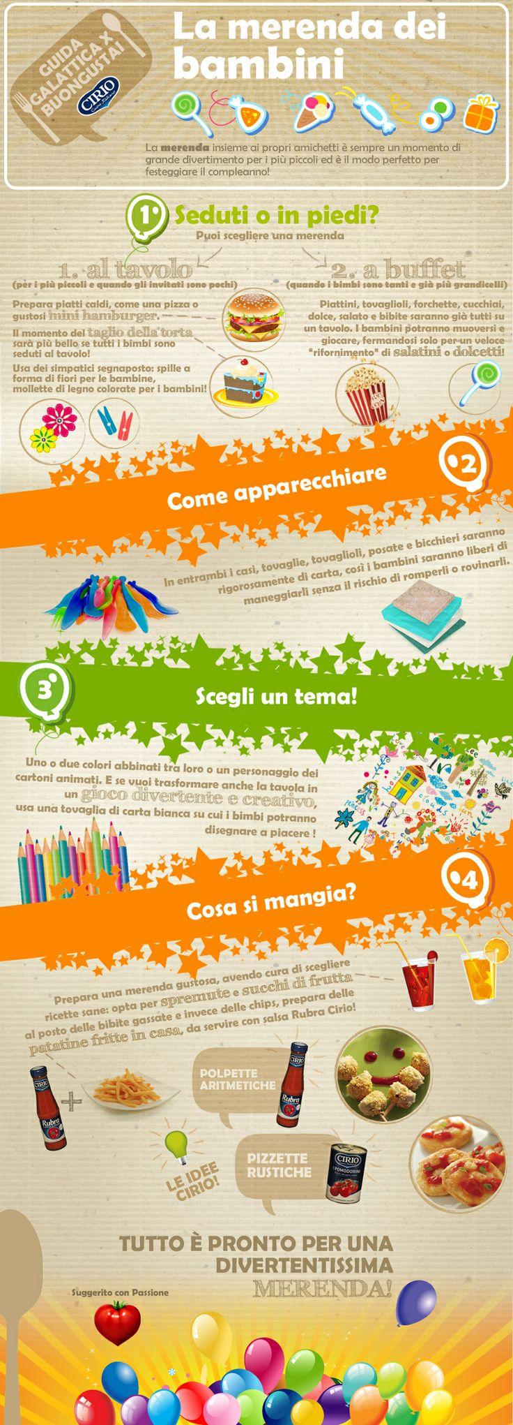 """""""Guida galattica per Buongustai"""" Cirio La merenda dei bambini #children #merenda #infographic"""