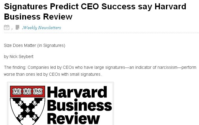 Signatures Predict CEO Success says Harvard Business Review (Size - business review