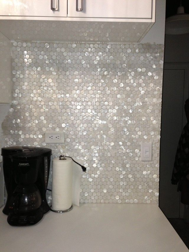 White Hexagon Pearl Shell Tile backsplash: Found at https://www.subwaytileoutlet.com/