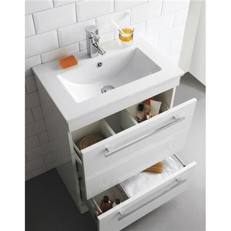 Ultra Design 600mm 2 Drawer Floor Mounted Basin & Cabinet - Gloss White - 2 Basin Options at Victorian Plumbing UK