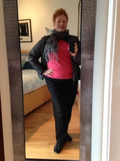 Day 184--Black wool pants, coral wool sweater, gray silk scarf, hammered silver earrings.