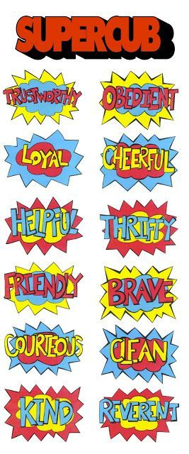 "Scout Law *incorporated into Superhero Comic Bubbles. Use these bright and colorful Superhero bubbles for your next Pack Meeting. These free Superhero printables add that ""comic book"" feel and are really versatile. These speech bubbles are great for many things like: Invitations Decorations Decorating a table backdrop Party Labels Cupcake Toppers (put comic bubbles on sticks) Cake Toppers As part of a city skyline Photo Booth Props Stickers Water Bottle Labels Birthday Banners Party Favors"