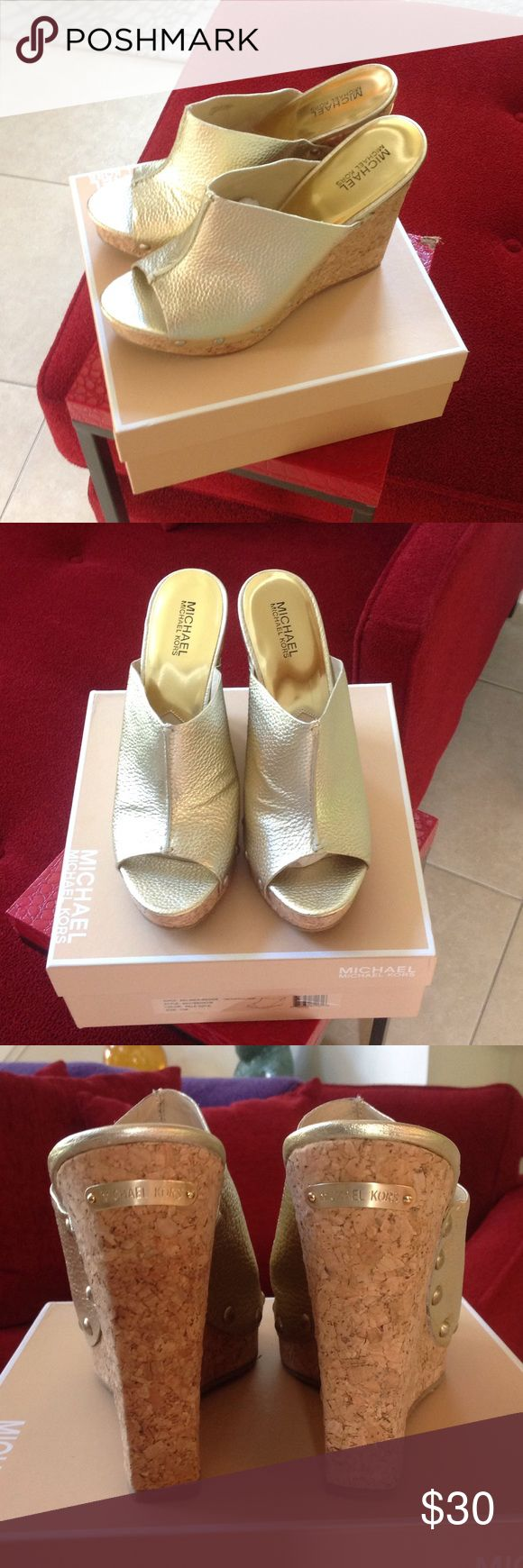 Gold MICHAEL Michael Kors wedge heels Never worn NEW gold wedge heels from the MICHAEL Michael Kors line MICHAEL Michael Kors Shoes Wedges
