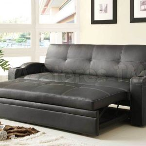 Black Leather Sofa With Pull Out Bed