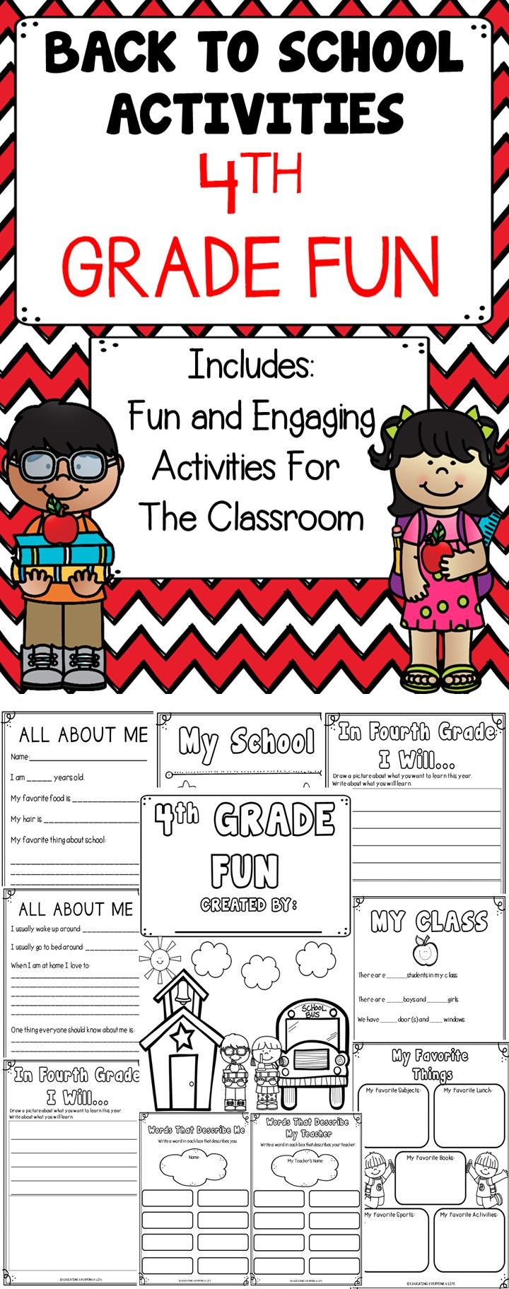 School Worksheets For 4th Graders : Th grade back to school math worksheets first day of
