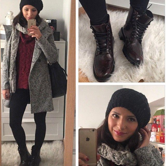 Morning! Lunes! Qué frioooo! Que llegue ya la primavera pleaseeee!  . Abrigo; @stradivarius . Jersey: @stradivarius . Leggins: @calzedonia . Botines: @zara_worldwide . Bufanda: @primark Gorrito: @zara.world . (Botines de rebajas, todo lo demás de otras temporadas ) . #look #outfit #ootd #fashionblogger