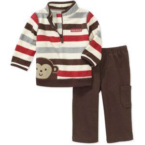 Child of Mine Carters Newborn Boys' 2-Piece Stripe Mock Neck Fleece and Pant Set