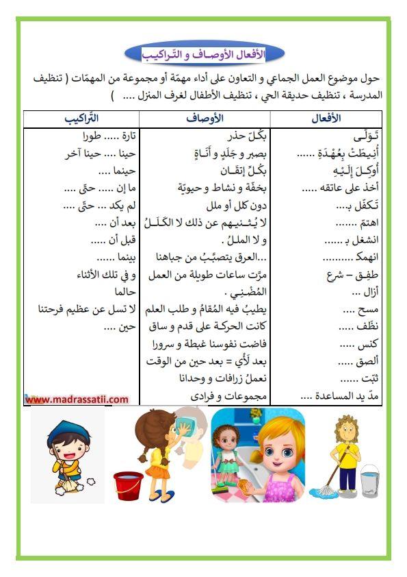 الأفعال الأوصاف و التراكيب لكتابة موضوع حول التعاون و العمل الجماعي و النظافة موقع مدرستي Word Search Puzzle Word Search Words
