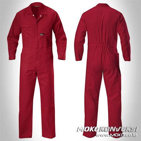 Safety Coverall - MOKO KONVEKSI. Model Baju Wearpack Kerja Coverall Polos Warna Merah Marun.