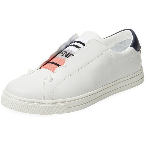 Fendi Women's Low Top Leather Sneaker - White, Size 40 ($519) ❤ liked on Polyvore featuring shoes, sneakers, white, leather low top sneakers, white shoes, white leather shoes, white trainers and synthetic leather sneakers