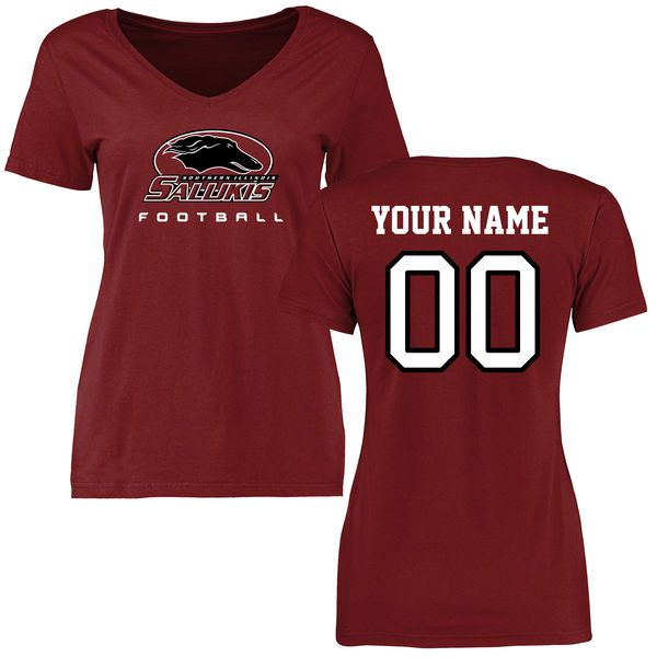 Southern Illinois Salukis Women's Personalized Football Slim Fit T-Shirt - Maroon - $37.99