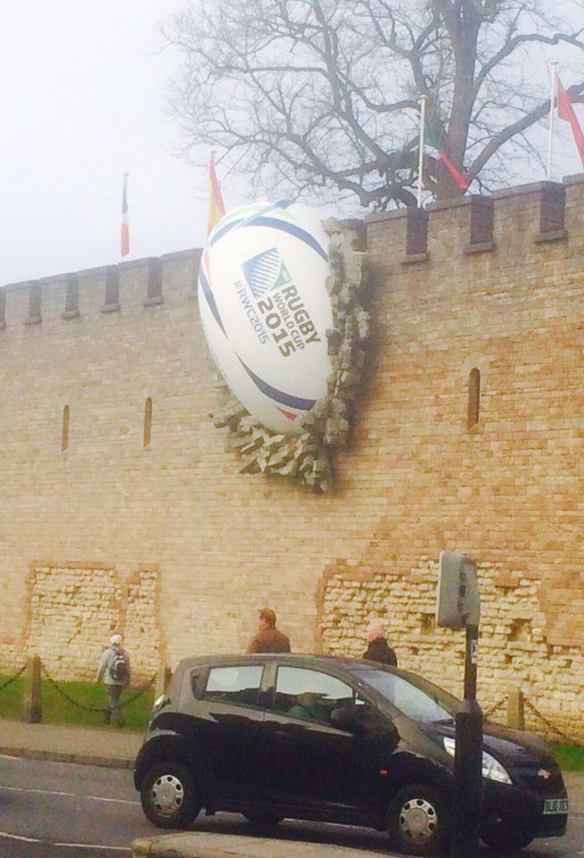Cardiff castle and World Cup rugby ball feature on the day before it was dismantled . Unfortunately not my pic ( I was unable to get a pic while there, too ill to make it to the castle)