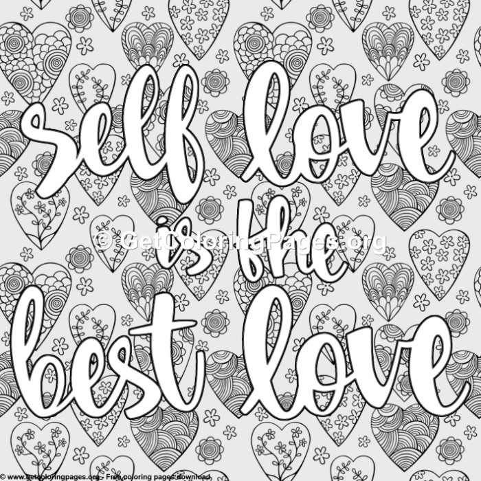 Love Lettering Self Love Is The Best Love Coloring Pages Love Coloring Pages Quote Coloring Pages Words Coloring Book