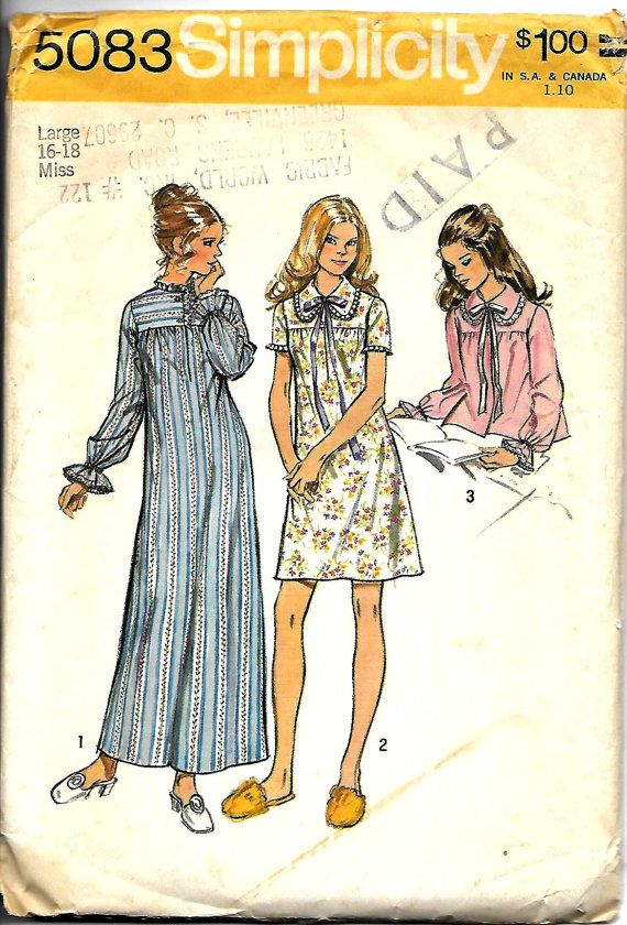 Nightgown Pattern Simplicity 5083 UNCUT by RetroMarketplace