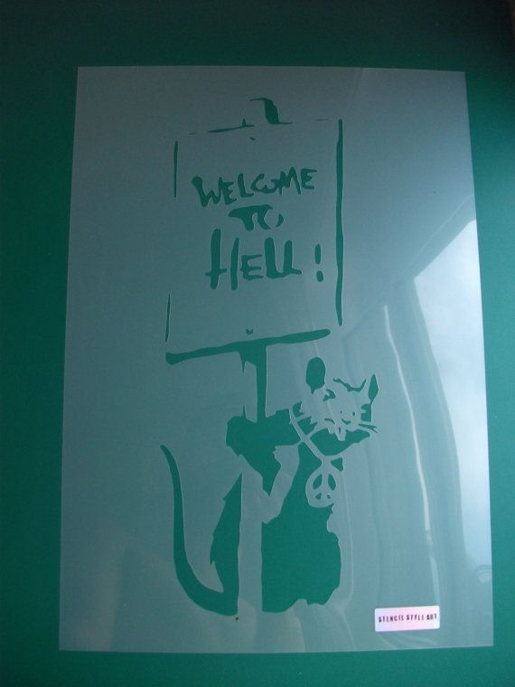 Banksy Rat Stencil Welcome to Hell, Banksy Rats Stencils for painting walls, Home Decor Banksy replica stencils, Reusable Sizes XS-XL. by IdealStencils