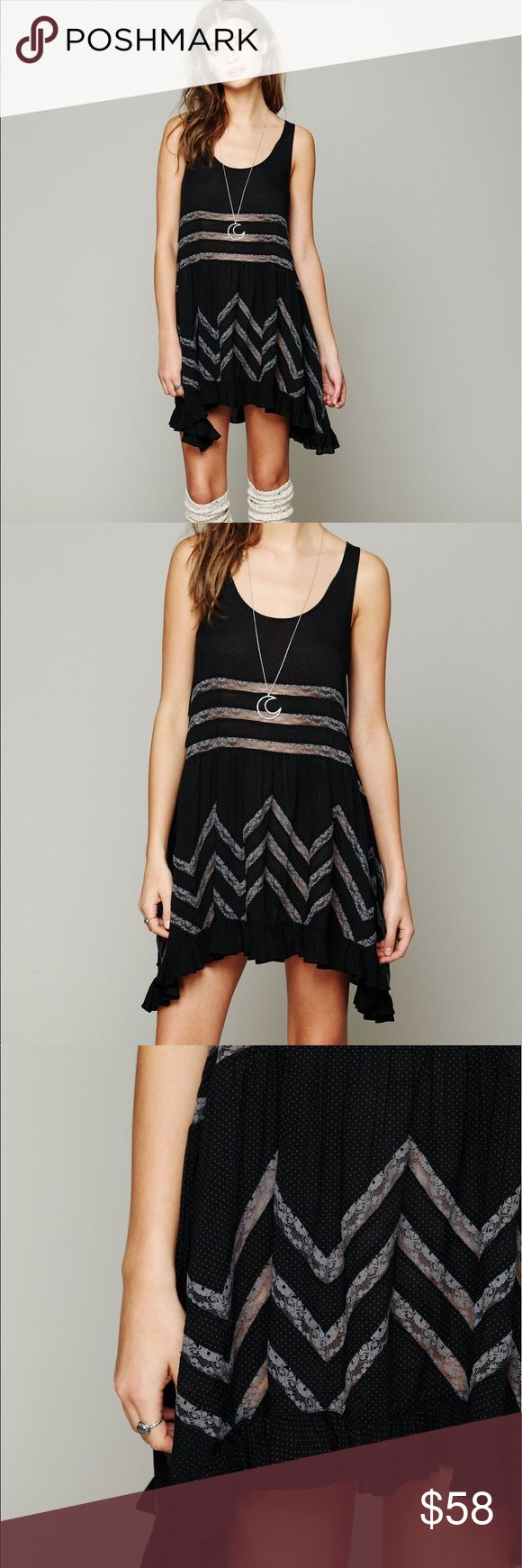 {free people} trapeze & voile slip black polkadot The classic Free People slip. Excellent condition. Still for sale at full price on the Fp website. Free People Dresses