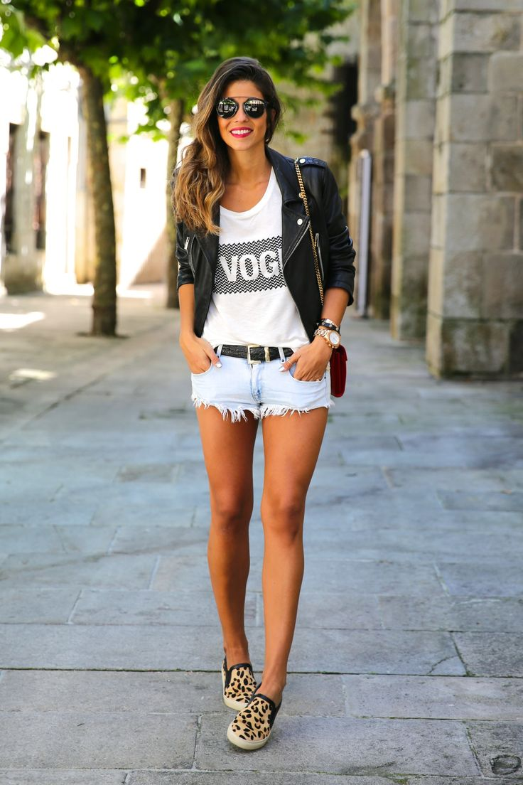 Leather jacket, graphic tee, light wash cut off denim ...