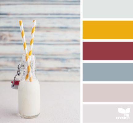 Milk Tones: Faint Blue, Sunshine Yellow, Raspberry Red, Cornflower Blue, Milky Purple and Faded Grey