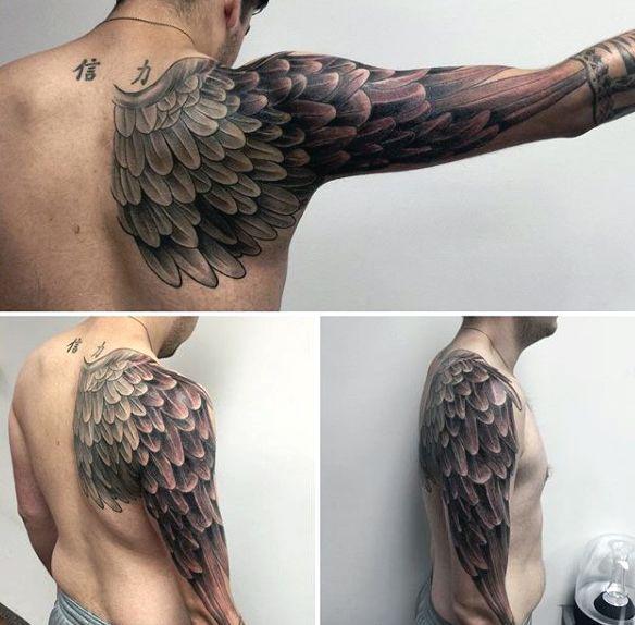top 100 best wing tattoos for men designs that elevate cool tattoos pinterest shoulder. Black Bedroom Furniture Sets. Home Design Ideas