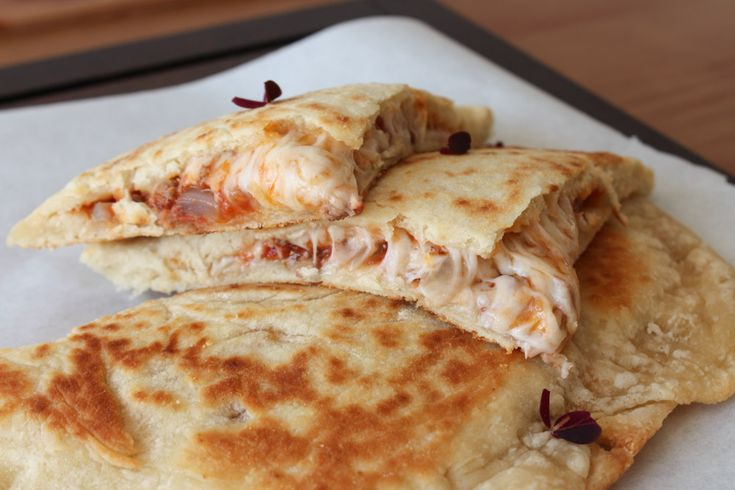 meat sauce and cheese-filled flatbread