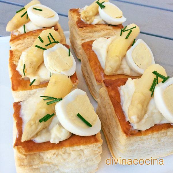 Estos volovanes de espárragos blancos son un aperitivo delicioso y muy fácil de preparar. Con la crema del relleno puedes hacer otros aperitivos.