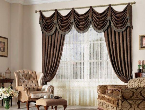 Vintage braune wohnzimmer gardinen