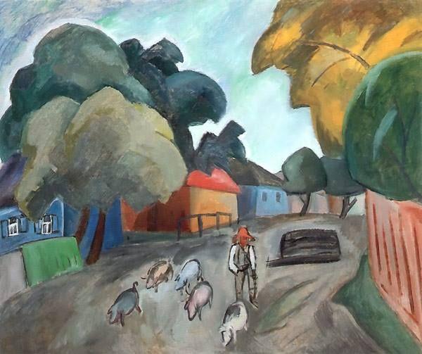 """""""Paisaje con cerdos"""", óleo sobre lienzo de 1912 del pintor ruso Robert (Rafailovich) Falk. Se encuentra en el Museo de Smolensk en Rusia. Falk en un pintor con una obra que, en general, se encuadra en el neo-impresionismo. Fue uno de los fundadores del grupo de vanguardia """"Sota de diamantes"""". El rasgo distintivo de las pinturas de Falk son la forma de escultura con muchas capas diferentes de pintura."""