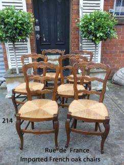 6 ANTIQUE FRENCH PROVINCIAL CARVED OAK DINING CHAIRS