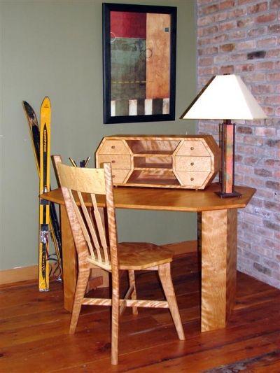Writing Desk And Chair Brookside Woodworking Walt Stanley Castleton Vermont Curly Red Birch Bird